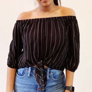 Agaci Off the Shoulder Tie Front Top